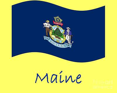 Waving Maine Flag And Name Original by Frederick Holiday