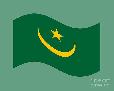Vintage Diner Cars Royalty Free Images - Waving Mauritania Flag Royalty-Free Image by Frederick Holiday
