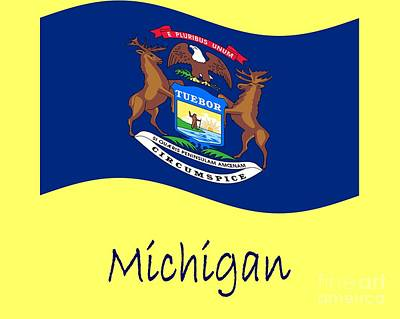 1-war Is Hell Royalty Free Images - Waving Michigan Flag And Name Royalty-Free Image by Frederick Holiday