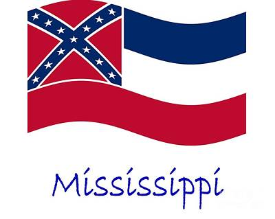 Waving Mississippi Flag And Name Original by Frederick Holiday