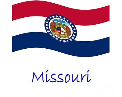 Waving Missouri Flag And Name Original by Frederick Holiday