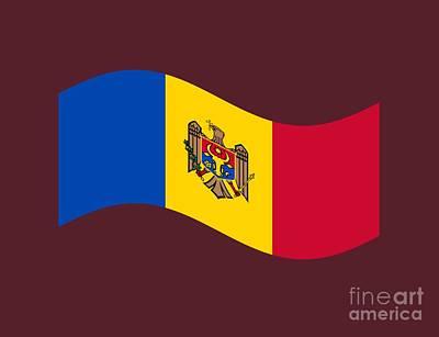 Moldova Digital Art - Waving Moldova Flag by Frederick Holiday