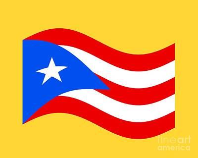 Puerto Rico Digital Art - Waving Puerto Rico Flag by Frederick Holiday
