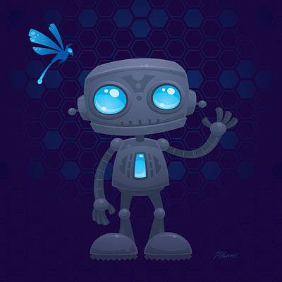 Mascot Drawing - Waving Robot by John Schwegel