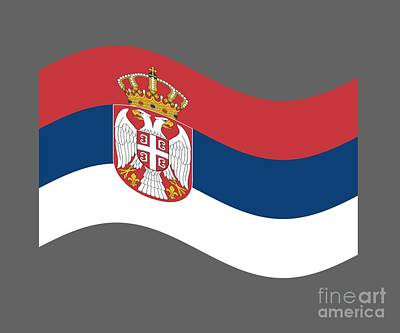 Serbia Mixed Media - Waving Serbia Flag by Frederick Holiday