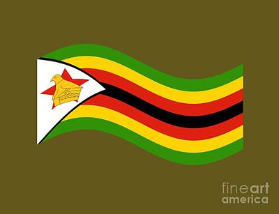 Waving Zimbabwe Flag Original by Frederick Holiday