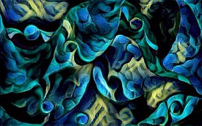 Digital Art - Wavy Blue by Megan Walsh