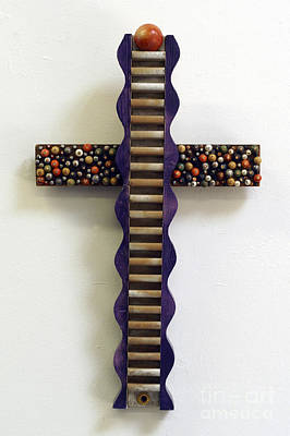 Mixed Media - Wavy Cross With Beads by Christina Knapp