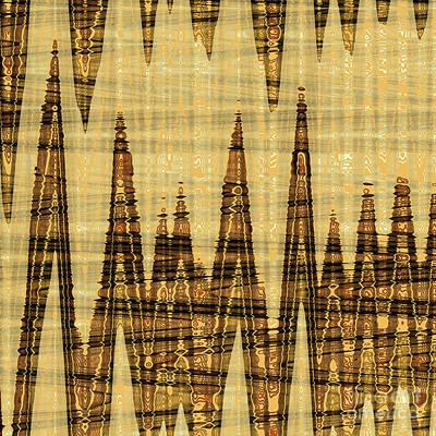 Wavy Golden Abstract Art Print by Gaspar Avila