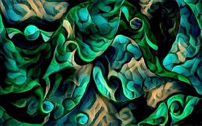 Digital Art - Wavy Green by Megan Walsh