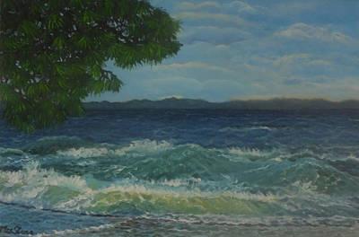 Pinetree Painting - Wavy Mood At Olive Bay by Petra Theodoridou