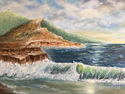 Pallet Knife Mixed Media - Wavy Pacific Hawaii  by Viktoriya Sirris