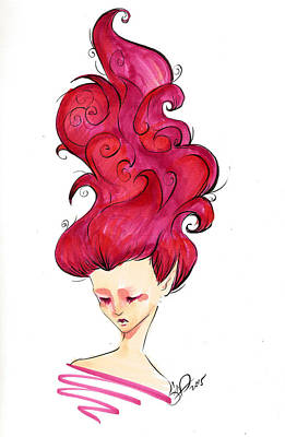 Simplicity Drawing - Wavy Red by Daniela Valentini