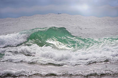 Photograph - Wavy Waves And A Boat by Adria Trail