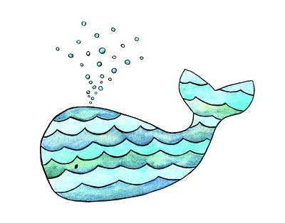 Painting - Wavy Whale by Kim W Nolan
