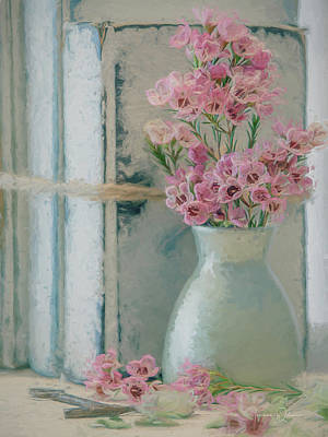 Still Life Mixed Media - Waxflowers and Books Painted by Teresa Wilson