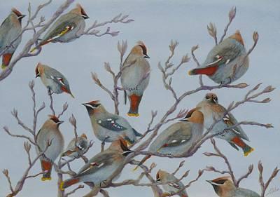 Cedar Waxwings Painting - Waxwings by Lisa Gibson Art