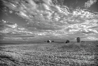 Photograph - Way Out There Alone B W Agriculture Farming Art by Reid Callaway