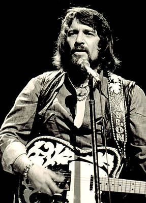 Music Stands Photograph - Waylon Jennings In Concert, C. 1976 by Everett