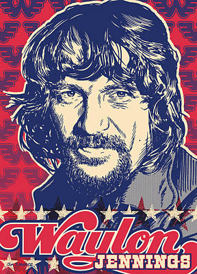 Portraits Digital Art - Waylon Jennings Pop Art by Jim Zahniser