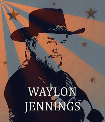 Duke Mixed Media - Waylon Jennings Poster by Dan Sproul