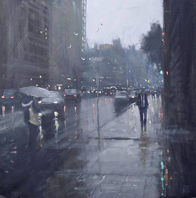 Wall Art - Painting - Waymouth Street Shower by Mike Barr