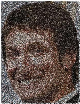 Wayne Gretzky Hockey Puck Mosaic Art Print by Paul Van Scott