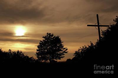 Wayside Cross In The Dusk Print by Michal Boubin