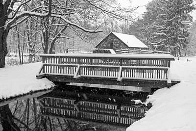 Wayside Inn Grist Mill Covered In Snow Bridge Reflection Black And White Art Print