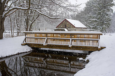 Wayside Inn Grist Mill Covered In Snow Bridge Reflection Art Print