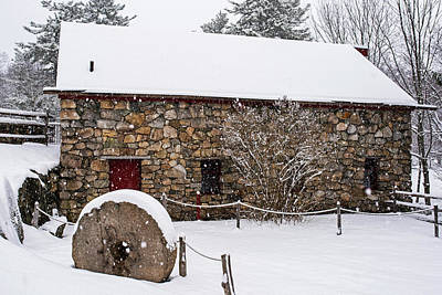 Wayside Inn Grist Mill Covered In Snow Millstone Art Print
