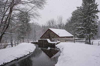 Wayside Inn Grist Mill Covered In Snow Storm Reflection Art Print