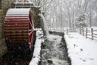 Wayside Inn Grist Mill Covered In Snow Storm Side View Art Print