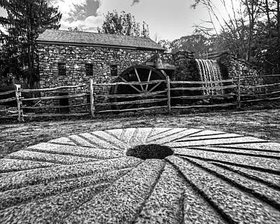 Wayside Inn Grist Mill Millstone Black And White Art Print