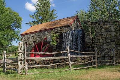 Photograph - Wayside Inn Grist Mill Sudbury Ma by Michael Saunders