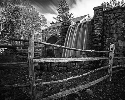 Wayside Inn Grist Mill Waterfall Sudbury Ma Black And White Art Print