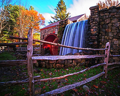 Wayside Inn Grist Mill Waterfall Sudbury Ma Art Print