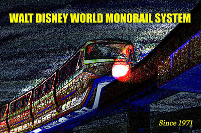 Painting - Wdw Monorail Since 1971 by David Lee Thompson