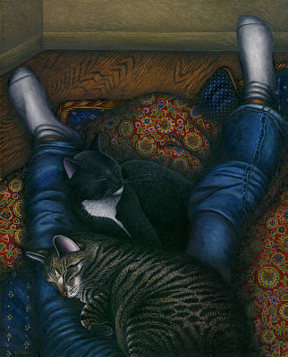 Gray Tabby Painting - We 3 Nap With My Cats by Carol Wilson