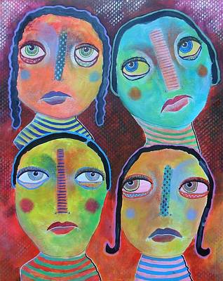 Primitive Raw Art Painting - We All Know Better by Bea Roberts
