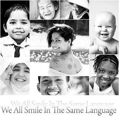 We All Smile In The Same Language Art Print by Jacky Gerritsen