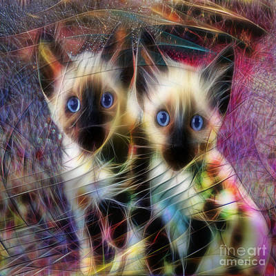 Digital Art - Siamese Cuties - Square Version by John Beck