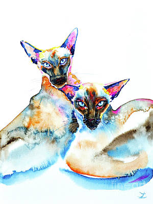 Painting - We Are Siamese by Zaira Dzhaubaeva