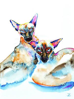 Painting - We Are Siamese by Zaira Dzhaubaeva