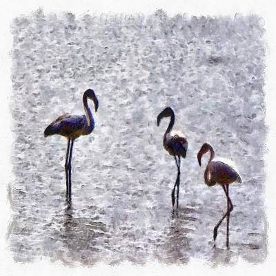 Painting - We Are The Three Flamingos Watercolor  by Tracey Harrington-Simpson