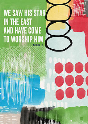 Contemporary Abstract Mixed Media - We Come To Worship- Contemporary Christmas Card By Linda Woods by Linda Woods