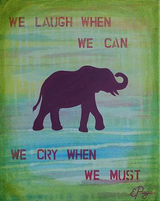 Happy Elephant Painting - We Laugh, We Cry by Emily Page
