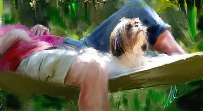 Lazy Dog Digital Art - We Love Life by Richard Okun