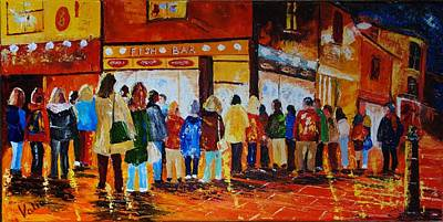 Painting - We Love Our Fish And Chips by Valerie Curtiss