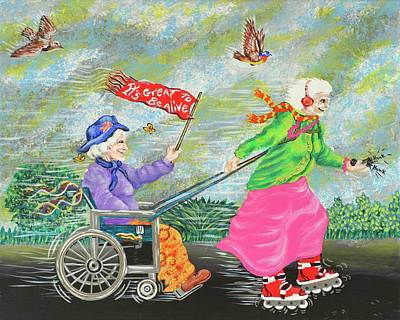 Wheelchair Painting - We Love Our Wheels by Ravan Powell